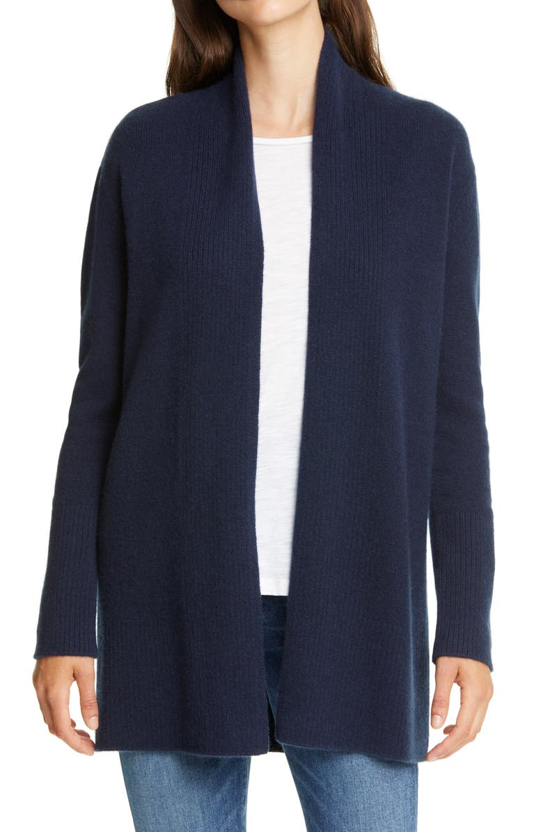 NORDSTROM SIGNATURE Open Front Cashmere Cardigan, Main, color, NAVY NIGHT