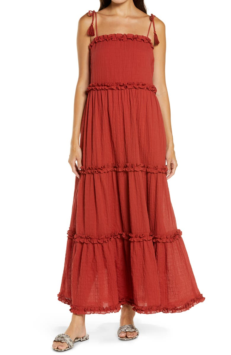 TORY BURCH Ruffle Tie Shoulder Cover-Up Maxi Dress, Main, color, ASHBERRY