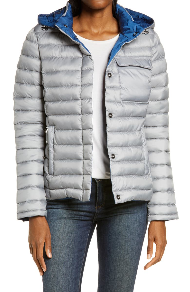 ZELLA Ultralight Reversible Puffer Jacket with Removable Hood, Main, color, GREY