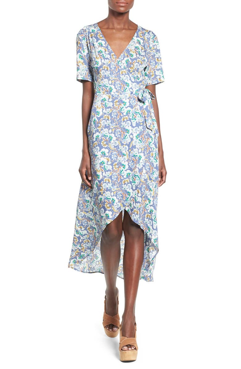 ASTR THE LABEL ASTR Floral Print Wrap Front Maxi Dress, Main, color, 400