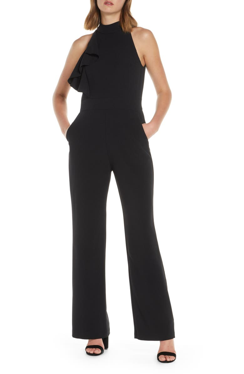 ELIZA J High Neck Wide Leg Crepe Jumpsuit, Main, color, 001
