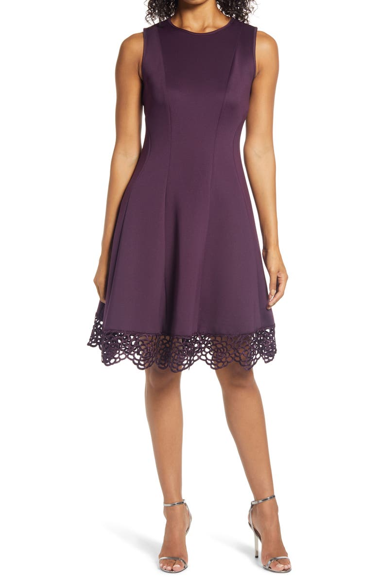 DONNA RICCO Sleeveless Fit & Flare Dress, Main, color, DEEP PURPLE
