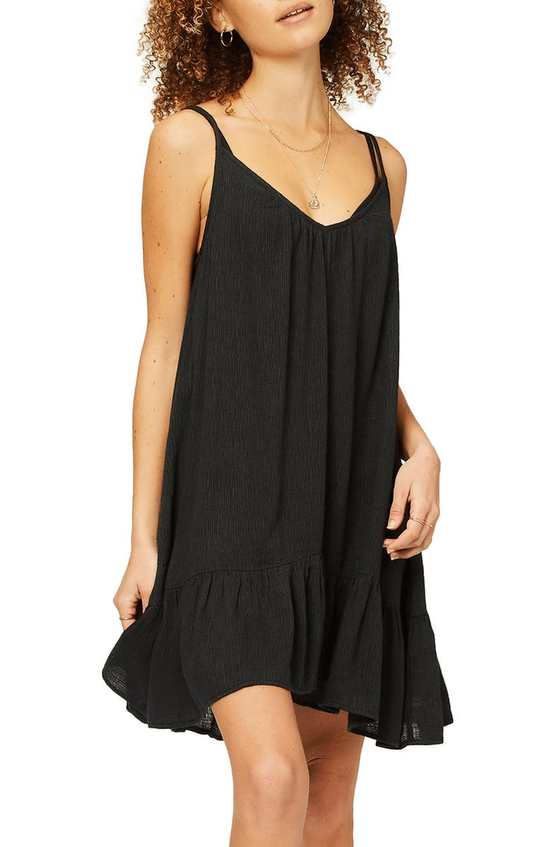 BILLABONG Beach Vibes Cover-Up Dress, Main, color, BLACK PEBBLE