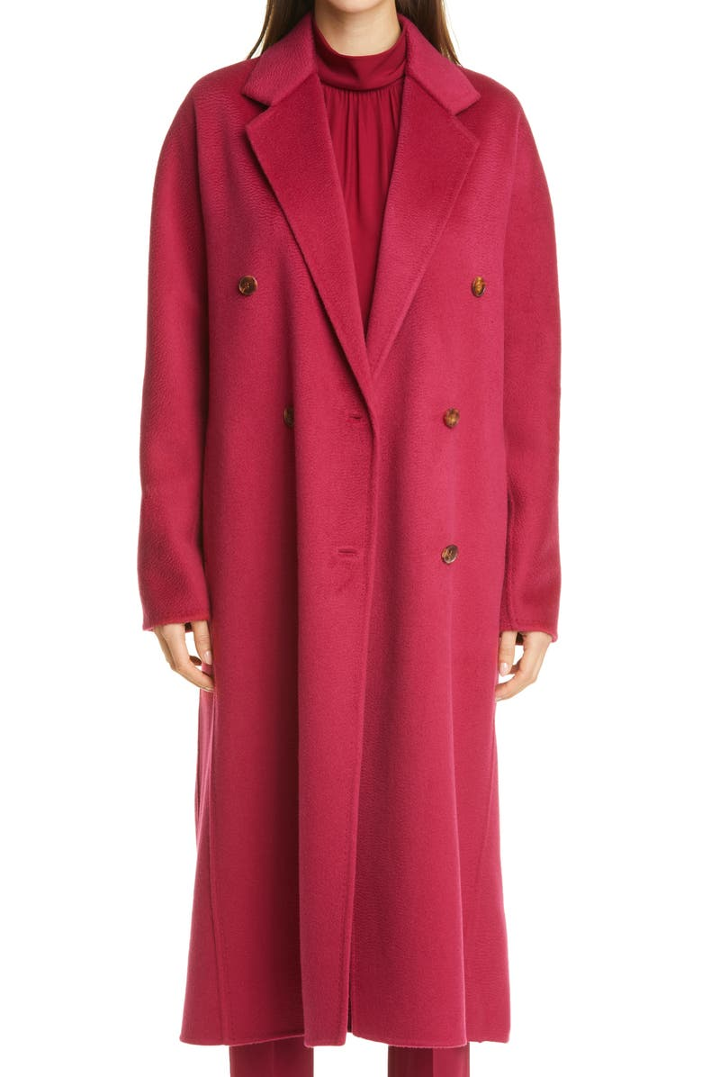 LAFAYETTE 148 NEW YORK Jasper Brushed Double Face Cashmere Coat, Main, color, HIBISCUS