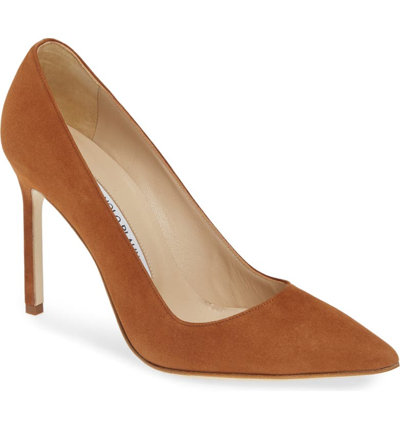 MANOLO BLAHNIK BB Pointed Toe Pump, Main, color, DEEP TAN SUEDE