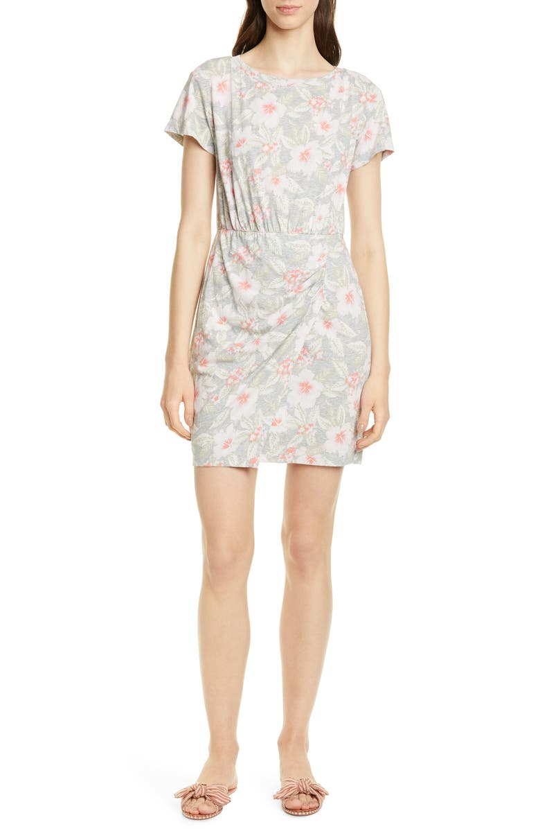 REBECCA TAYLOR Kamea Ruched Detail Cotton Jersey Dress, Main, color, 021