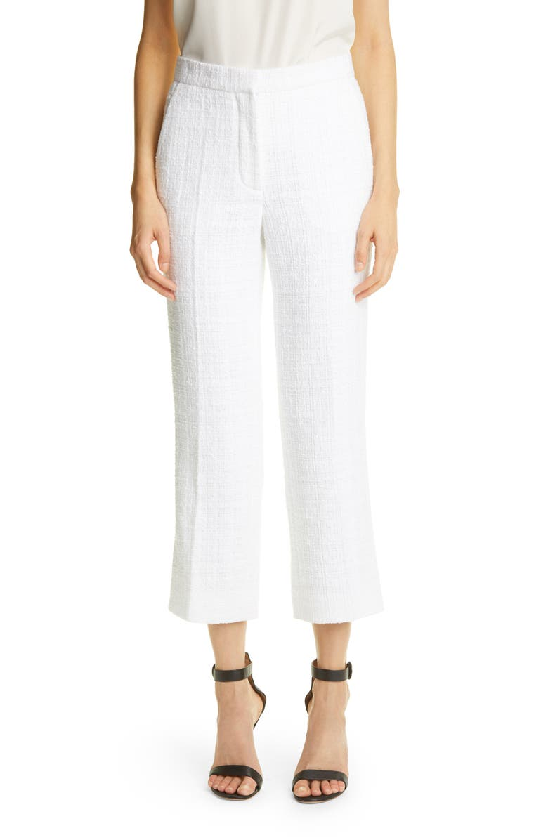 ST. JOHN COLLECTION Basket Woven Tweed Pants, Main, color, OPTIC WHITE