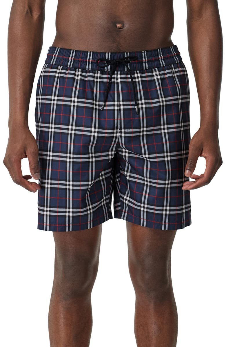BURBERRY Guildes Vintage Check Swim Trunks, Main, color, CARBON BLUE IP CHECK