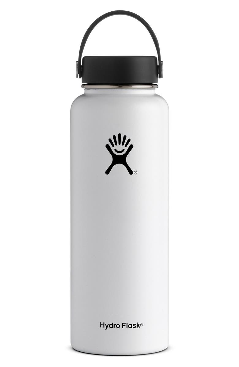 HYDRO FLASK 40-Ounce Wide Mouth Cap Bottle, Main, color, WHITE