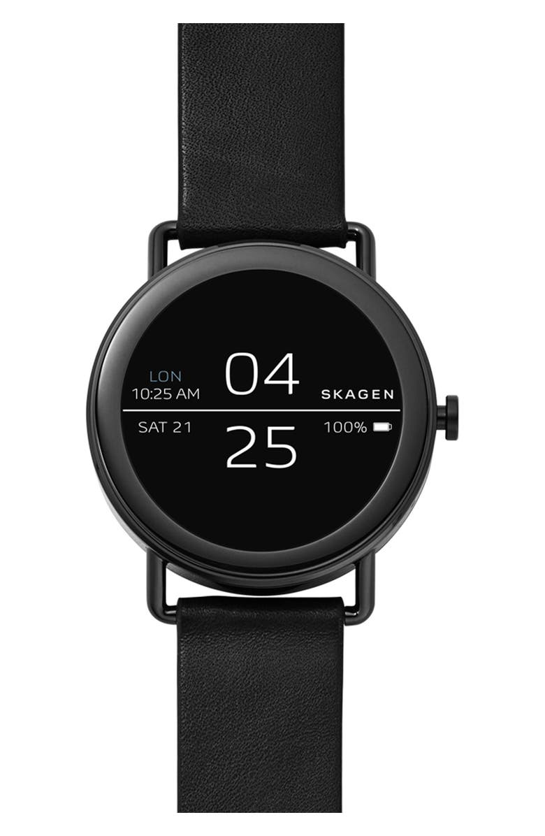 SKAGEN Falster Touchscreen Leather Strap Smart Watch, 42mm, Main, color, 001