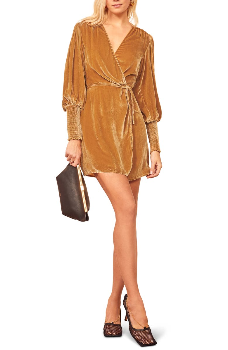 REFORMATION Boheme Long Sleeve Wrap Dress, Main, color, 700