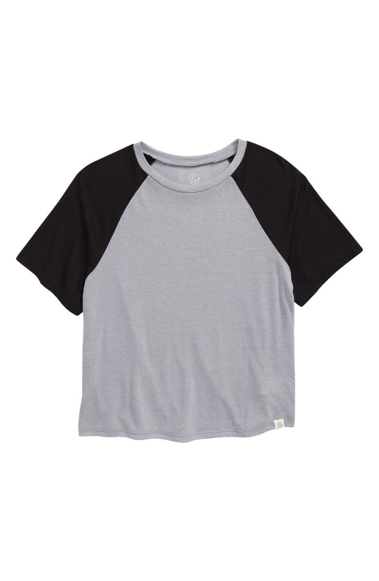 TREASURE & BOND Kids' Baseball T-Shirt, Main, color, GREY LIGHT HEATHER- BLACK