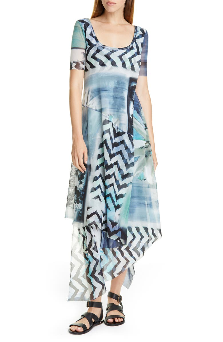 FUZZI Floral & Chevron Print Asymmetrical Maxi Dress, Main, color, 400