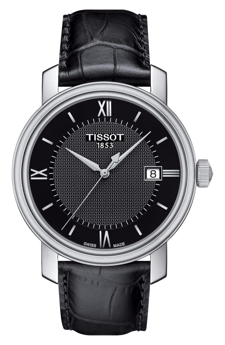 TISSOT Bridgeport Leather Strap Watch, 40mm, Main, color, 001