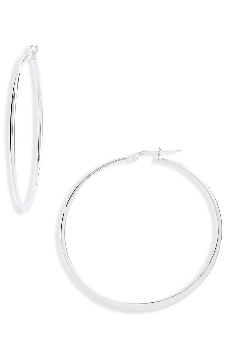 ARGENTO VIVO STERLING SILVER Large Flat Hoop Earrings, Main, color, SILVER