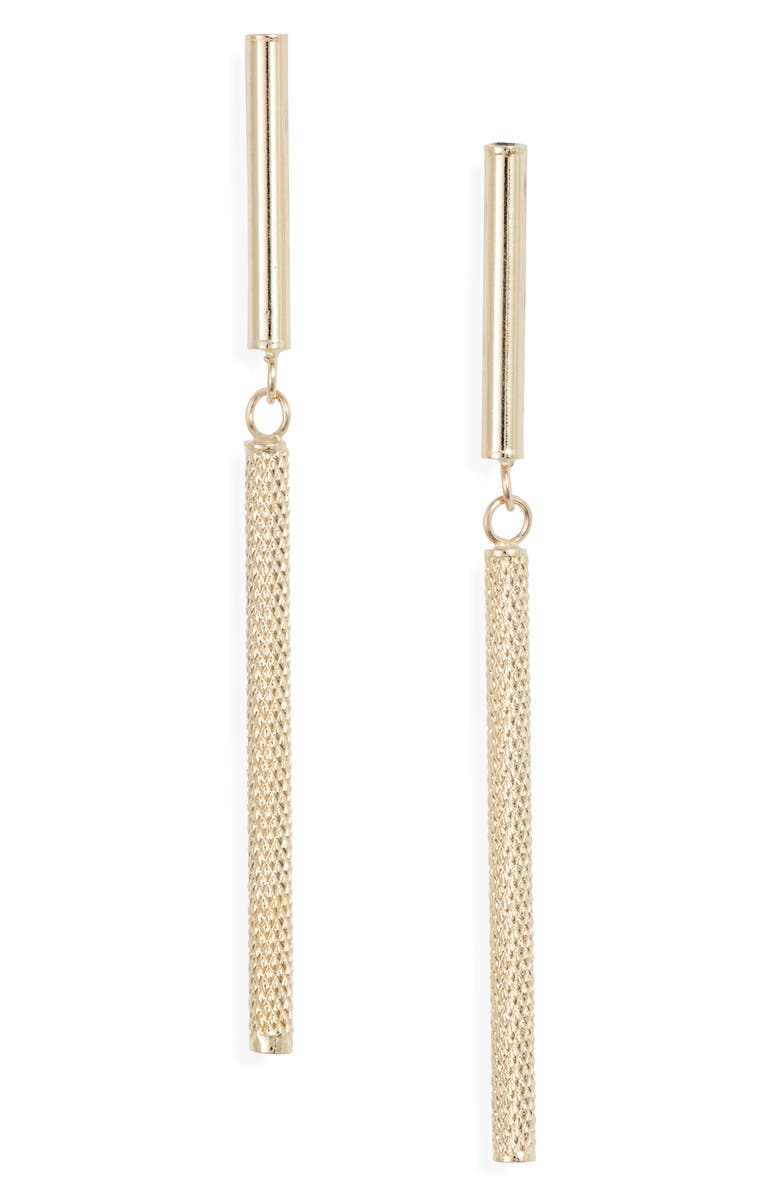BONY LEVY 14K Gold Cylinder Linear Drop Earrings, Main, color, YELLOW GOLD
