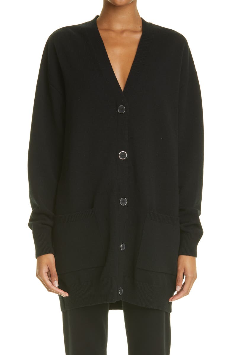 GIVENCHY Spike Logo Wool & Cashmere Cardigan, Main, color, BLACK