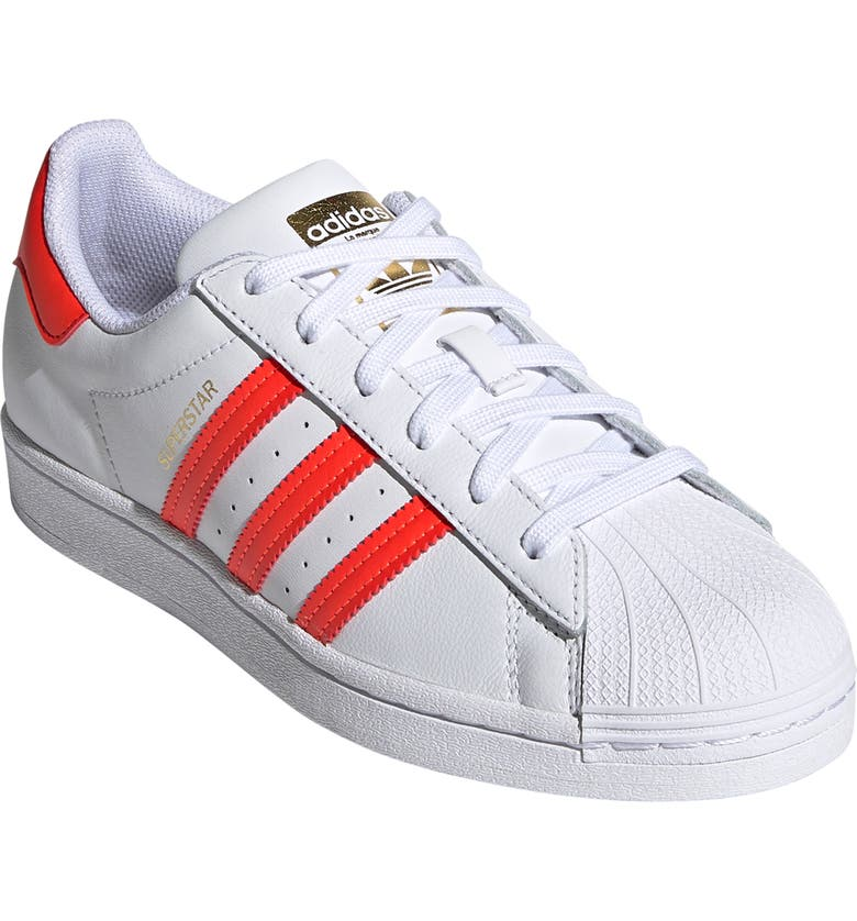 ADIDAS Superstar Sneaker, Main, color, WHITE/ SOLAR RED/ SCARLET