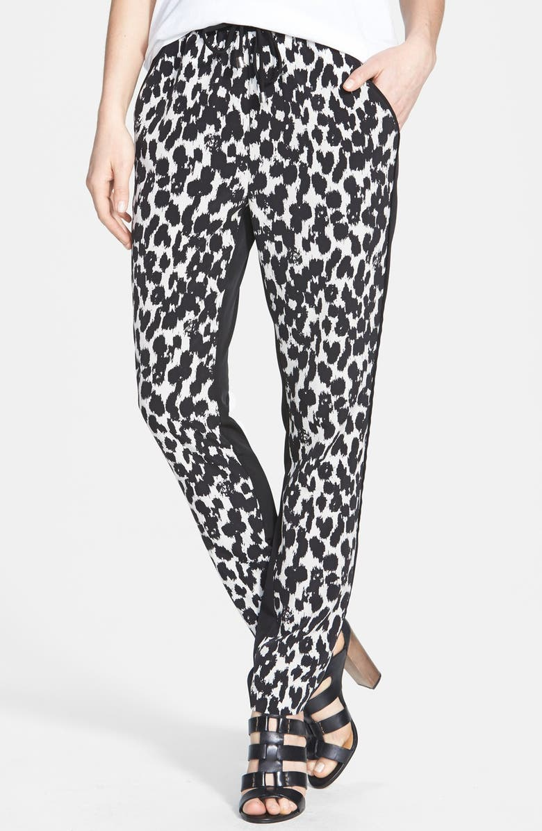 VINCE CAMUTO 'Animal Sketches' Waist Tie Pants, Main, color, 001