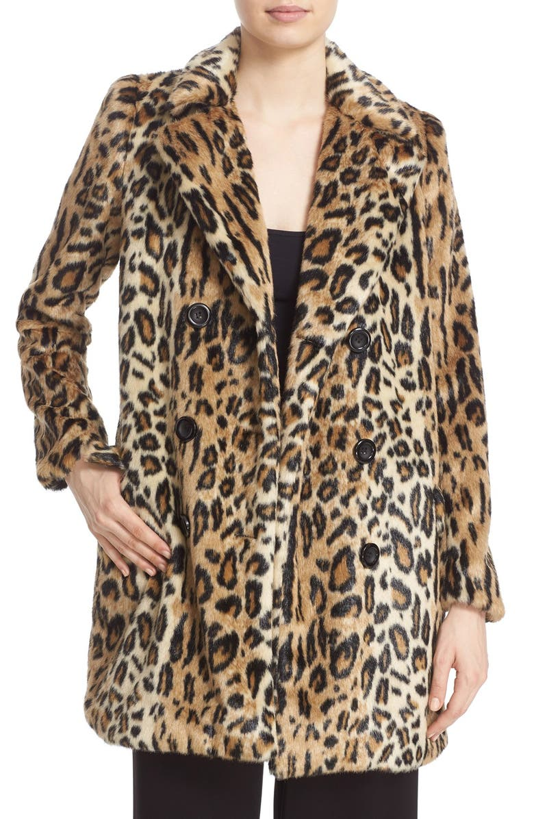 ALICE + OLIVIA 'Montana' Leopard Print Faux Fur Double Breasted Coat, Main, color, 219
