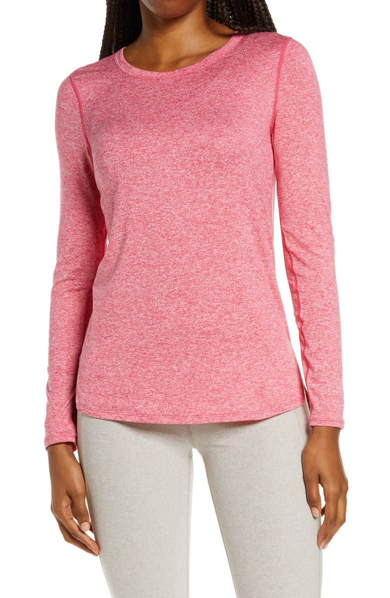ZELLA Liana Long Sleeve Recycled Blend Performance T-Shirt, Main, color, PINK DANDY