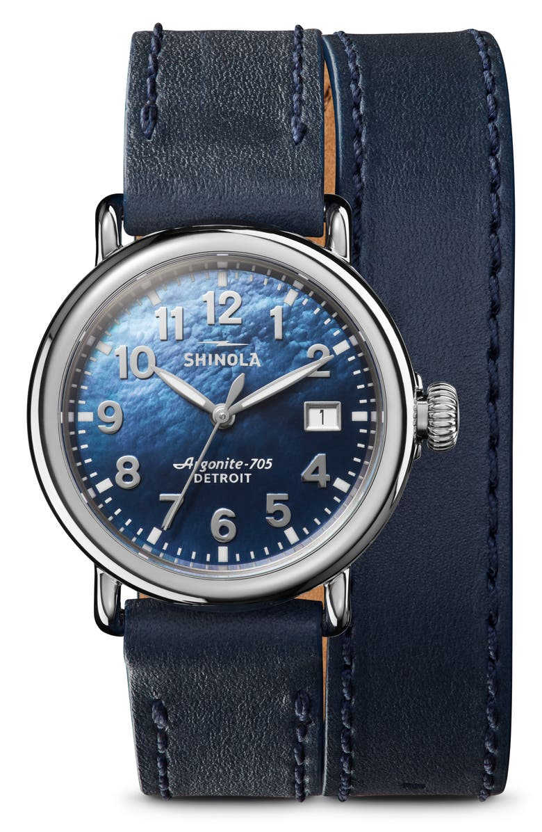 SHINOLA The Runwell Wraparound Leather Strap Watch, 36mm, Main, color, 400