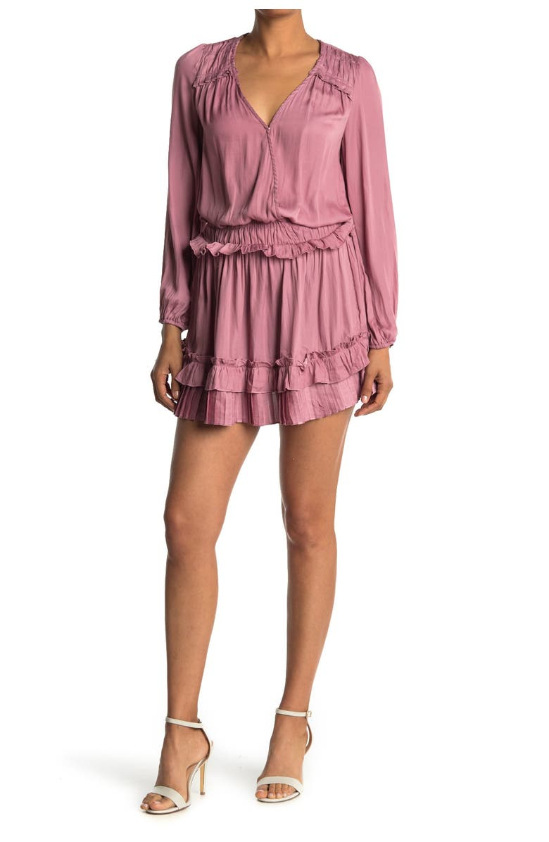 DO AND BE Tiered Ruffle Puff Sleeve Dress, Main, color, WOOD ROSE