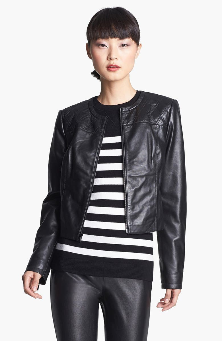 MISS WU Zip Front Leather Jacket, Main, color, Black
