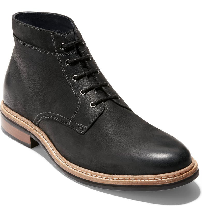 COLE HAAN Franklin Grand Waterproof Plain Toe Boot, Main, color, BLACK