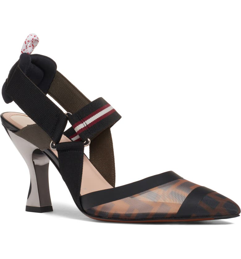 FENDI Colibri Slingback Pump, Main, color, BLACK