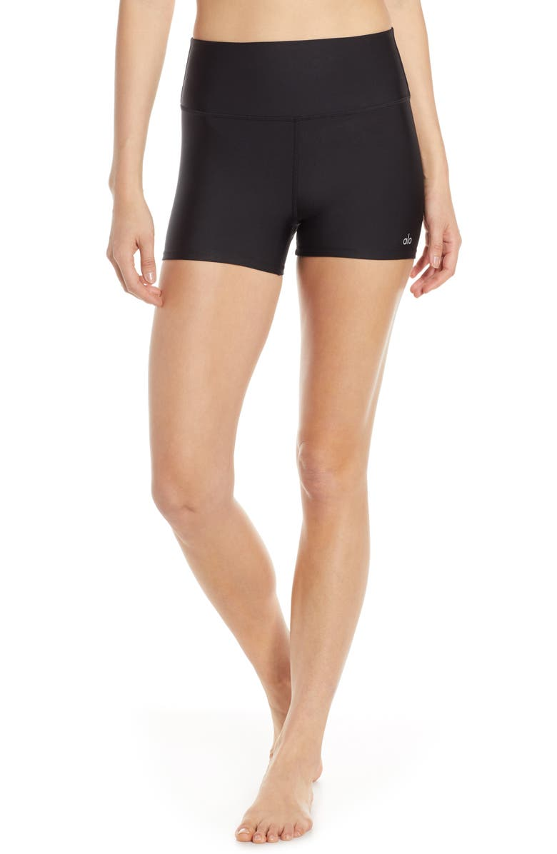ALO Airlift High Waist Shorts, Main, color, BLACK