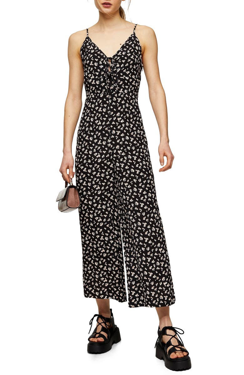 TOPSHOP Floral Tie Front Wide Leg Jumpsuit, Main, color, BLACK