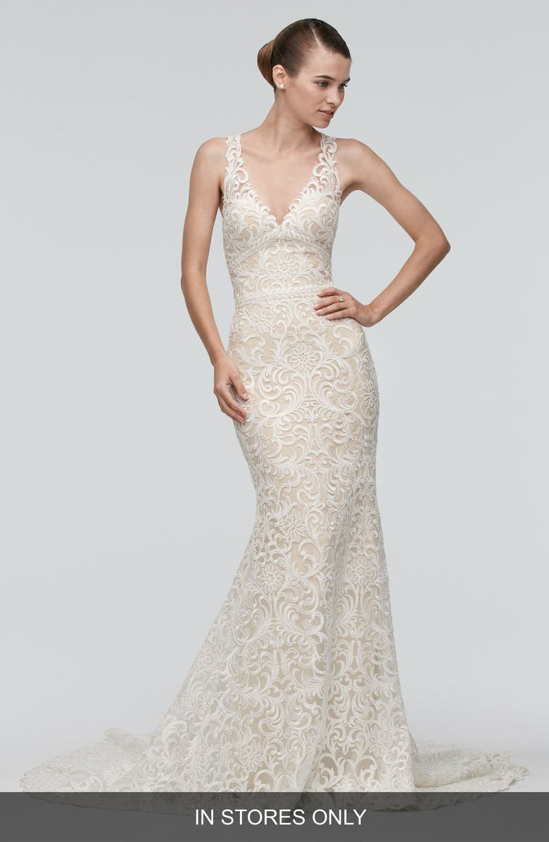 WATTERS Georgia Back Cutout Lace Trumpet Gown, Main, color, IVORY/NUDE