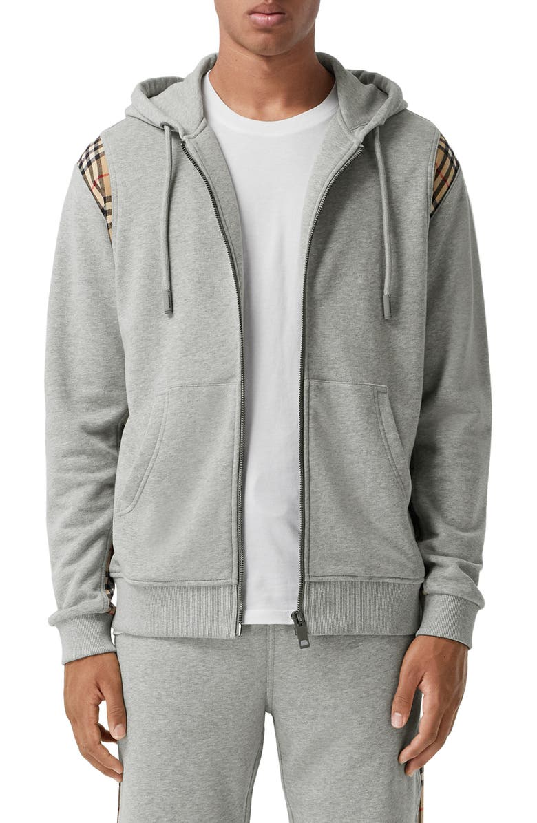BURBERRY Check Panel Cotton Hoodie, Main, color, 020