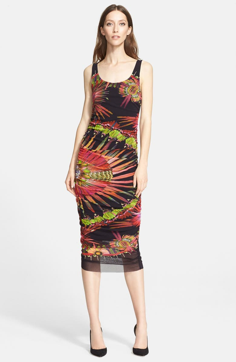 JEAN PAUL GAULTIER Feather Print Ruched Tulle Tank Dress, Main, color, 002