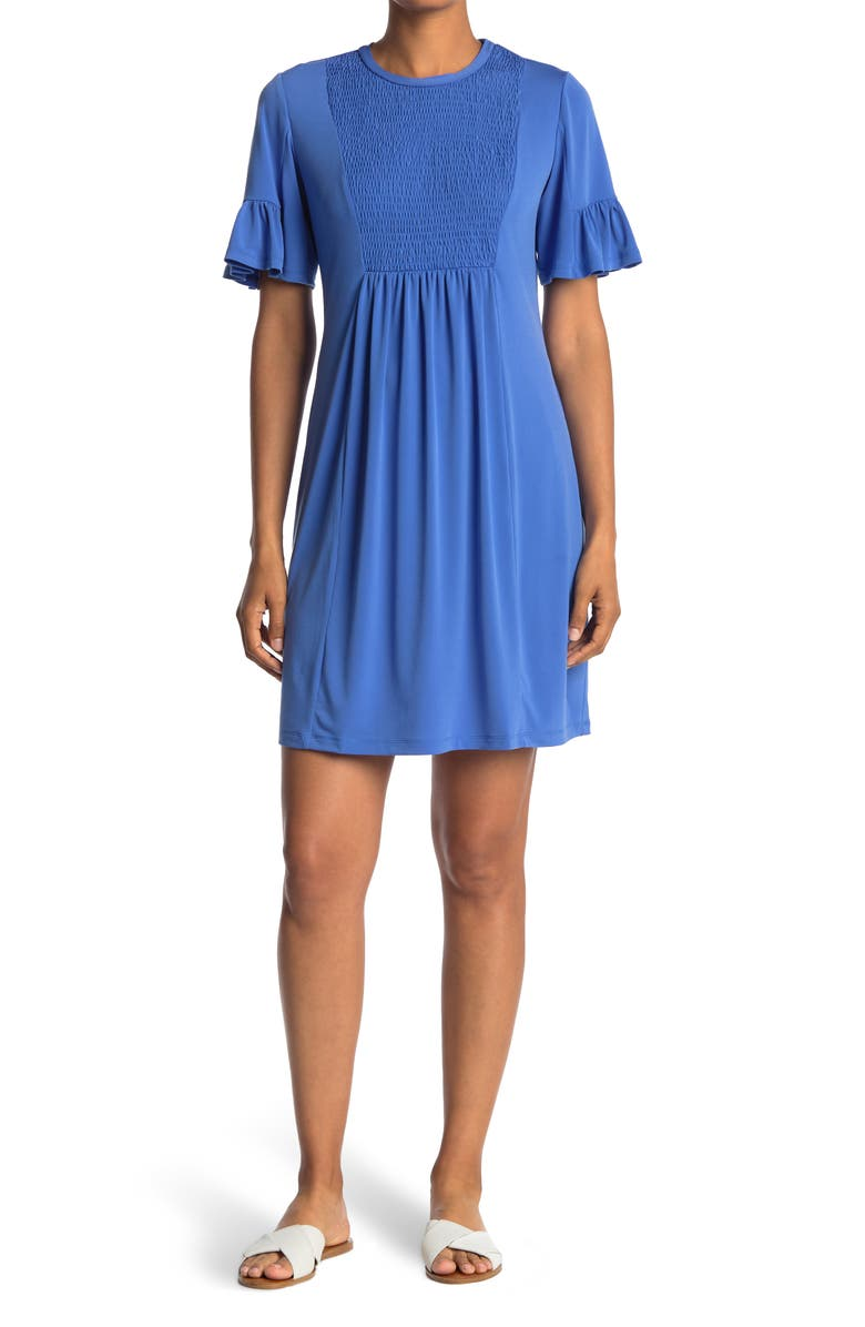 LONDON TIMES Jersey Smocked Short Sleeve Baby Doll Dress, Main, color, COBALT