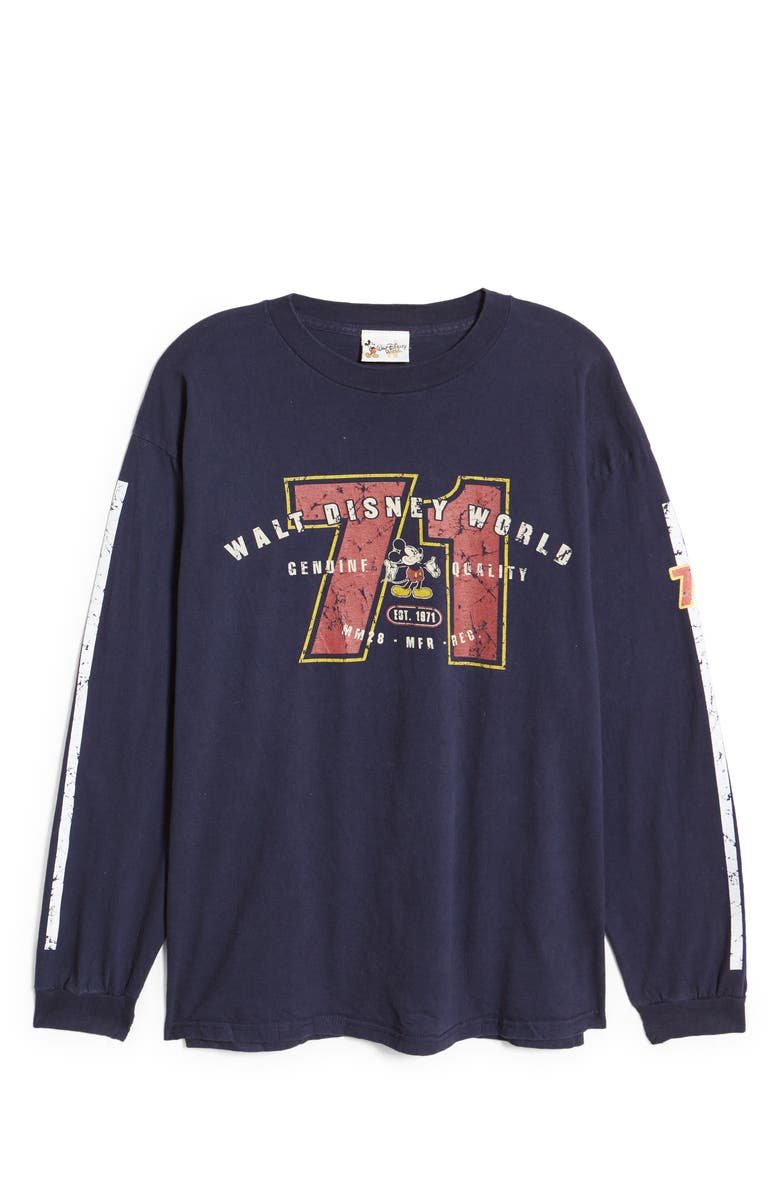 DISNEY Unisex Secondhand Mickey Genuine Quality Long Sleeve T-Shirt, Main, color, NAVY