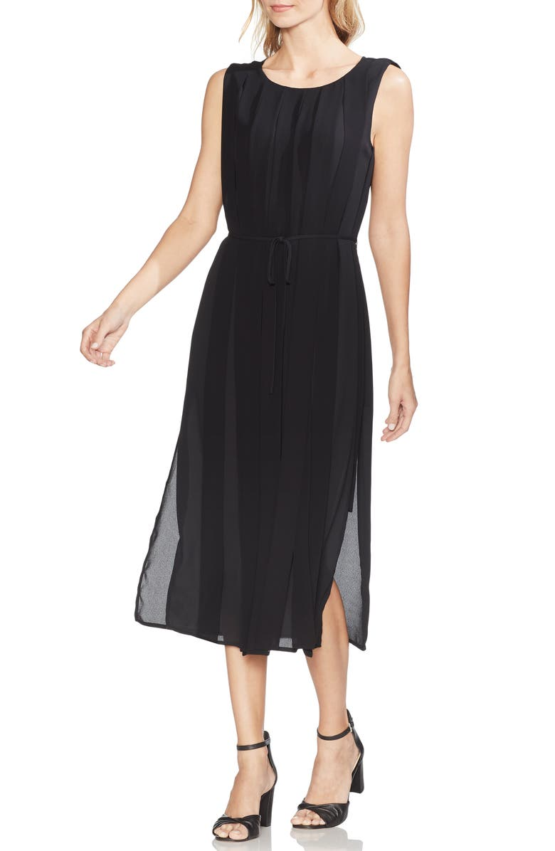 VINCE CAMUTO Pleated Overlay Sleeveless Dress, Main, color, RICH BLACK