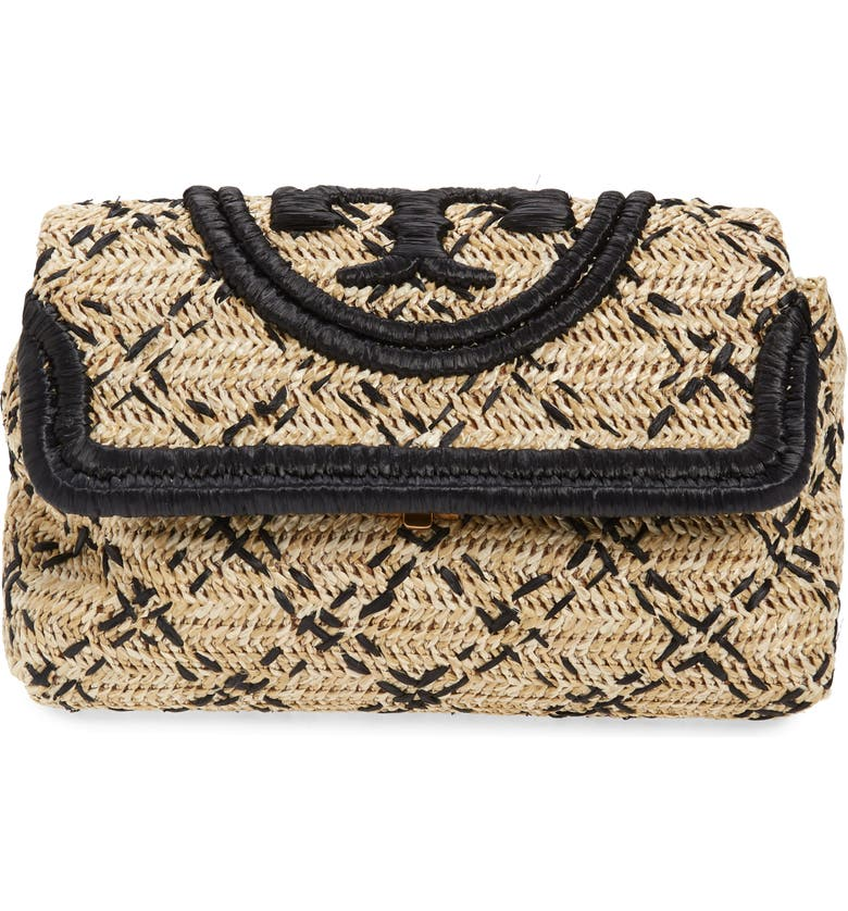TORY BURCH Small Fleming Straw Clutch, Main, color, 002