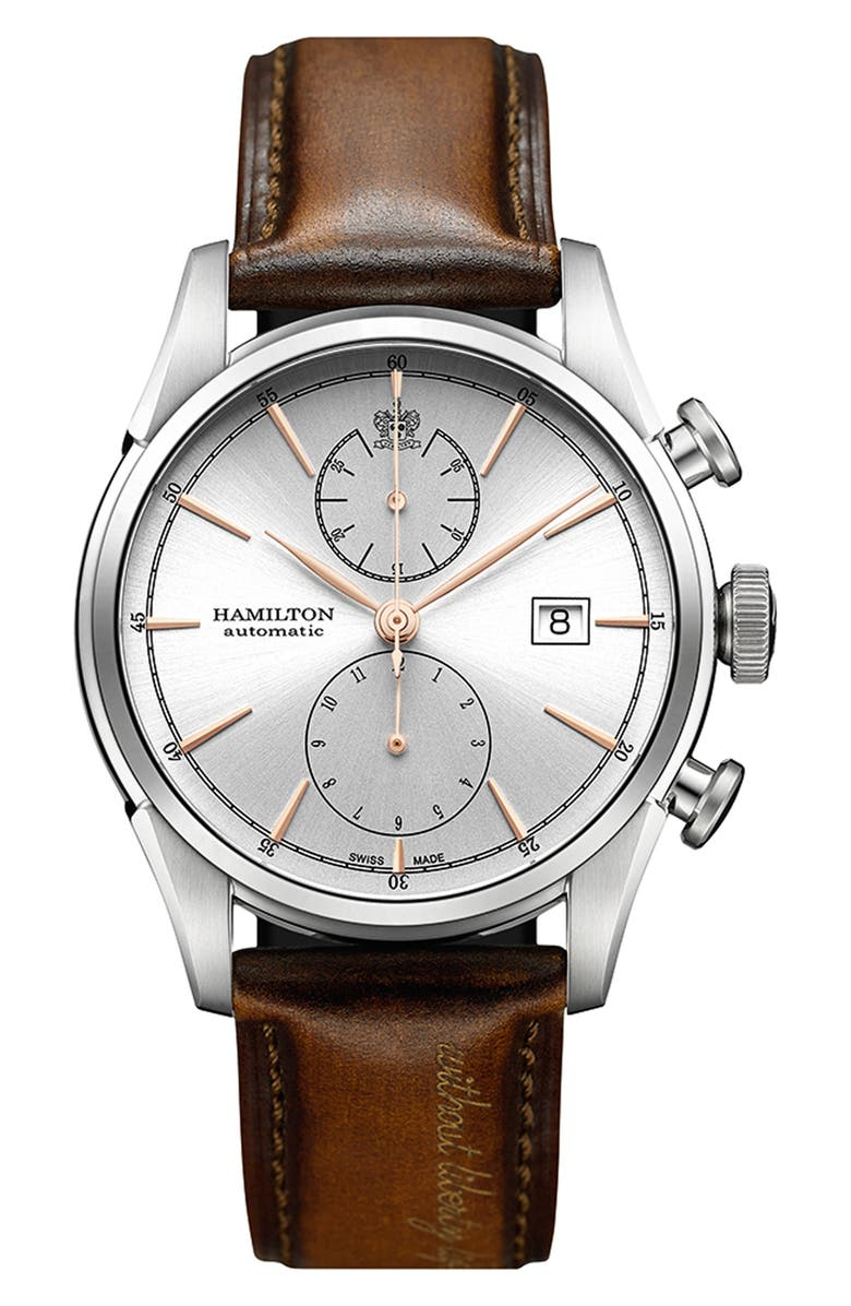HAMILTON American Classic Automatic Chronograph Leather Strap Watch, 42mm, Main, color, 200