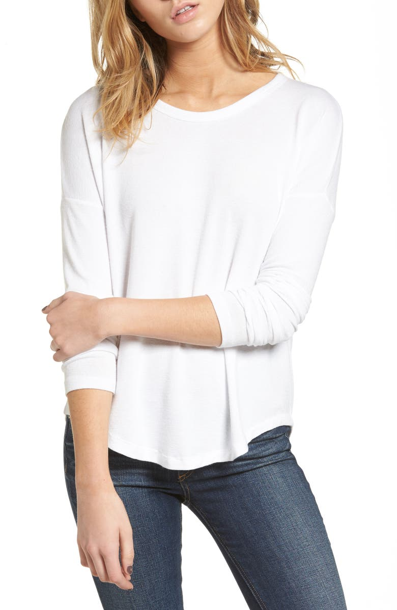 RAG & BONE The Knit Long Sleeve Tee, Main, color, WHITE