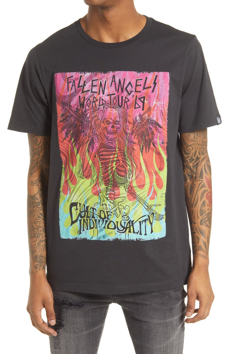 CULT OF INDIVIDUALITY Fallen Angel Men's Graphic Tee, Main, color, PEAT BLACK