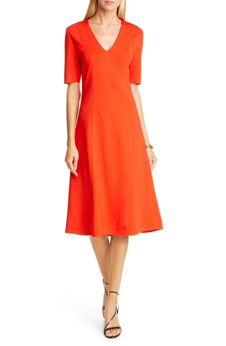ST. JOHN COLLECTION V-Neck Milano Sweater Dress, Main, color, 600