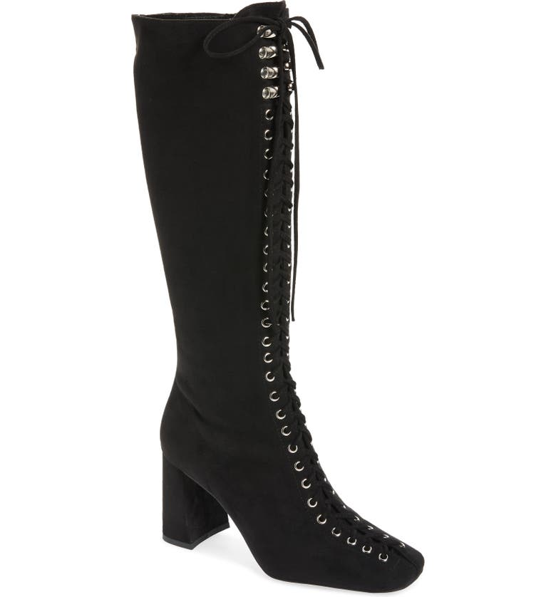JEFFREY CAMPBELL Patti-Lu Knee High Boot, Main, color, BLACK SUEDE
