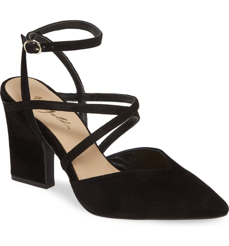 42 GOLD Fire Pointy Toe Ankle Strap Pump, Main, color, BLACK SUEDE