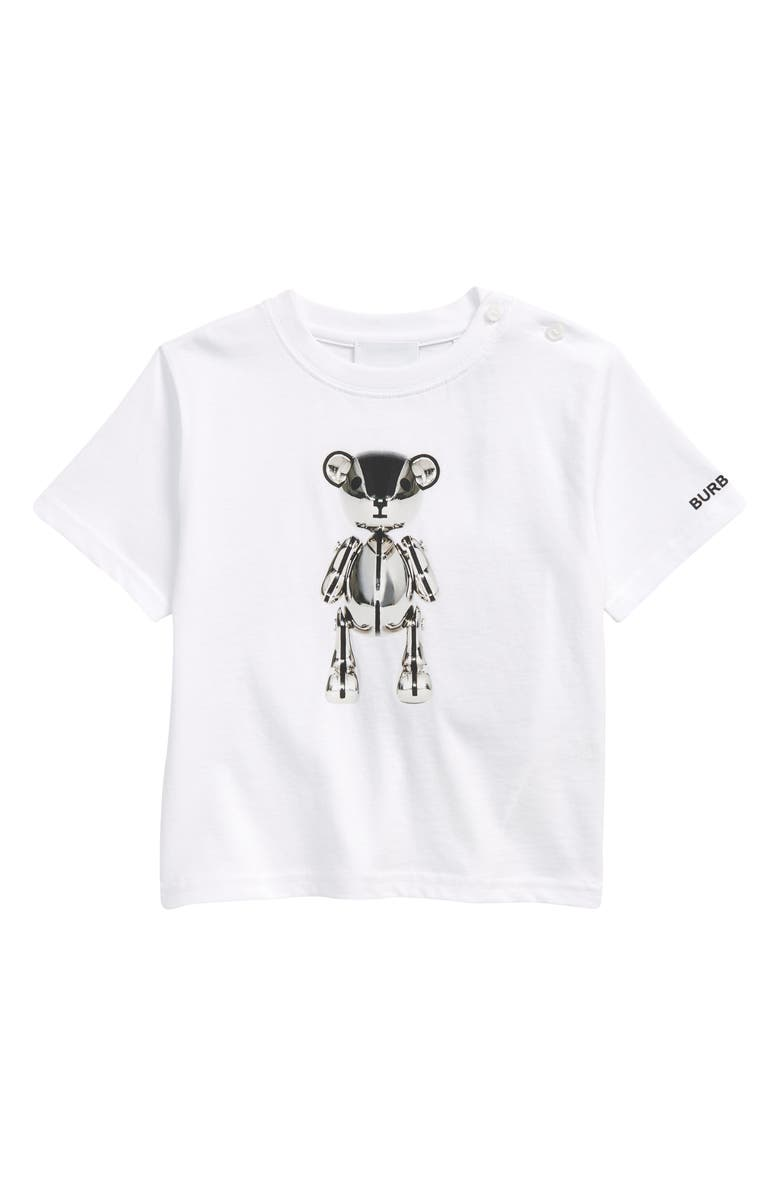 BURBERRY Kids' Metal Teddy Graphic Cotton Tee, Main, color, WHITE