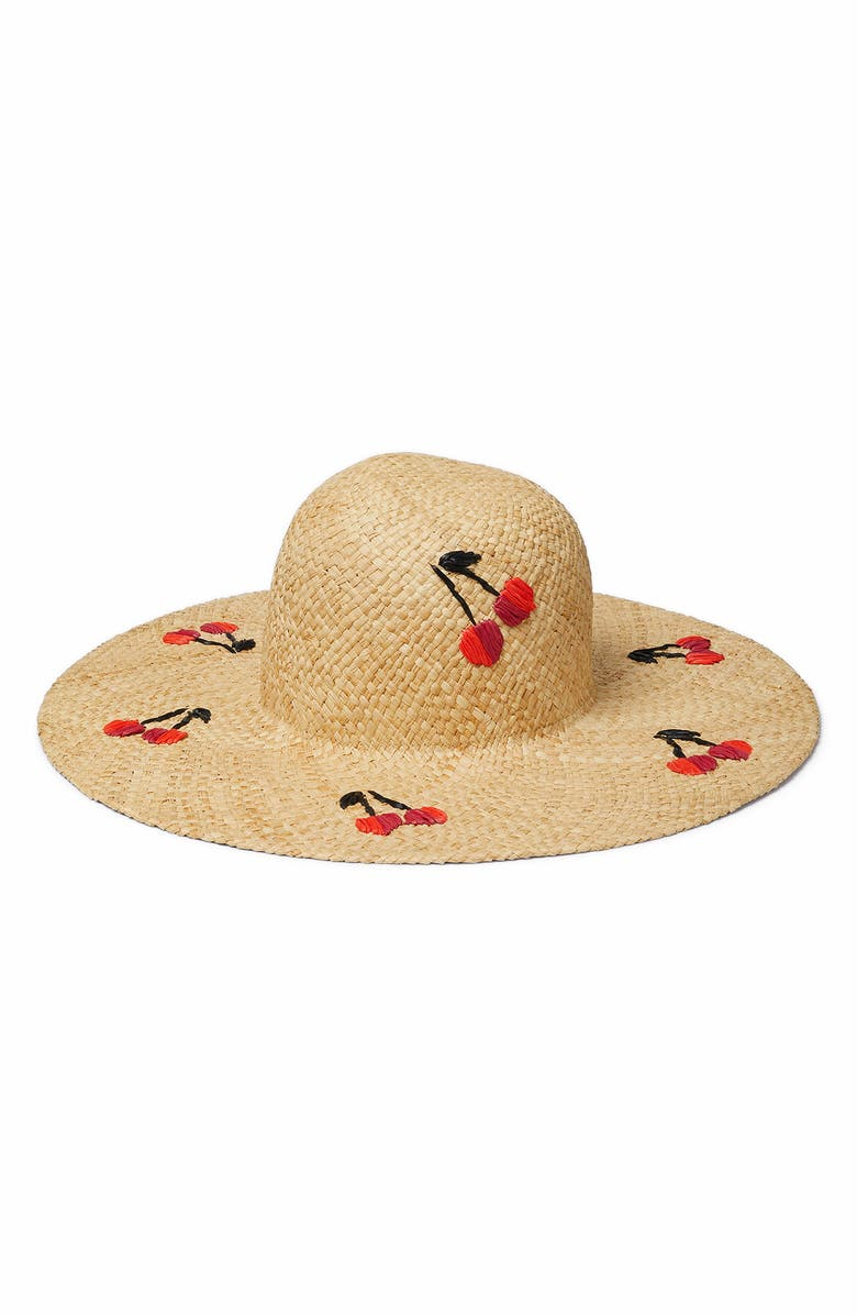 KATE SPADE NEW YORK cherries raffia sunhat, Main, color, NATURAL