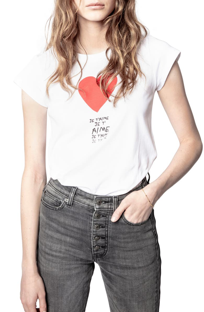 ZADIG & VOLTAIRE Skinny Je T'aime Graphic Tee, Main, color, BLANC