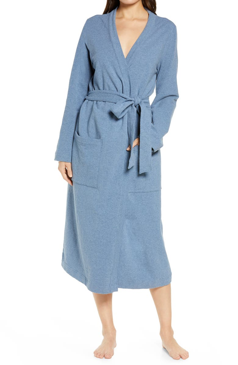 L.L.BEAN Women's Ultrasoft French Terry Wrap Robe, Main, color, CHARCOAL BLUE HEATHER
