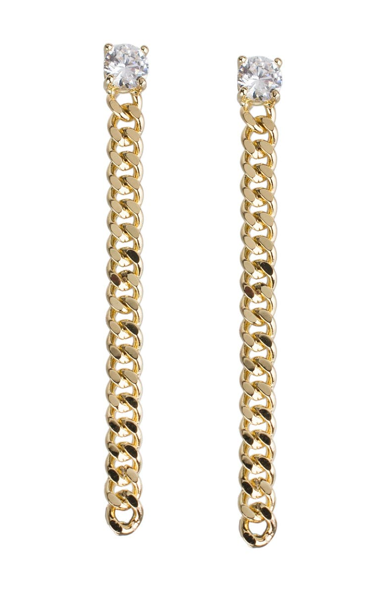 CZ BY KENNETH JAY LANE Round CZ & Curb Chain Drop Earrings, Main, color, CLEAR-GOLD